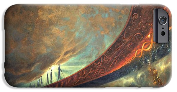 Science Paintings iPhone Cases - Origins iPhone Case by Lucy West