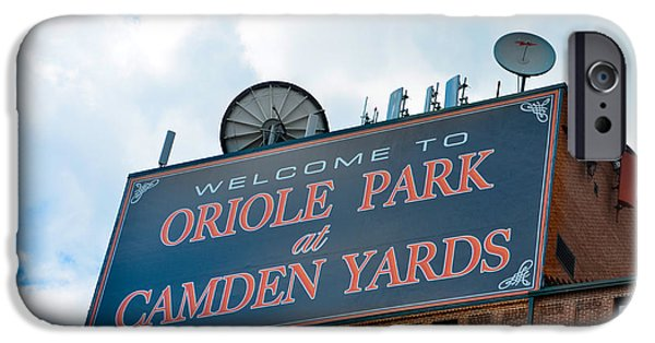 Camden Yards Stadium iPhone Cases - Oriole Park at Camden Yards Sign iPhone Case by Bill Cannon