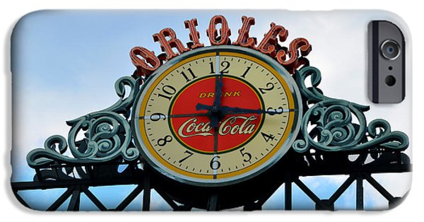 Baseball Stadiums Digital Art iPhone Cases - Orioles Clock - Camden Yards iPhone Case by Bill Cannon