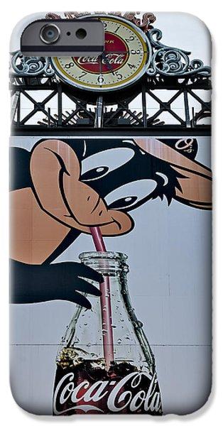 Camden Yards iPhone Cases - Orioles Mascot Drinks Coca Cola iPhone Case by Susan Candelario