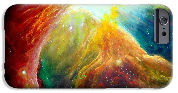Outer Space Paintings iPhone Cases - Orion Nebula iPhone Case by SaxonLynn Arts