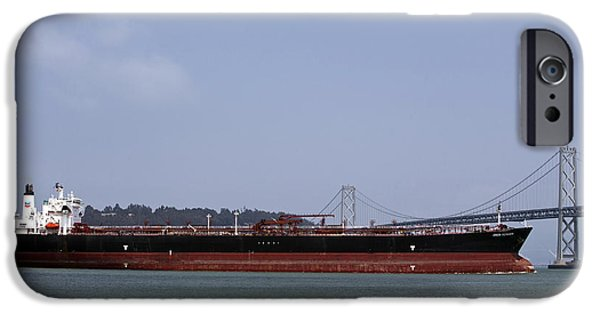 Jason O. Watson iPhone Cases - Orion Voyager Oil Tanker passing through Bay Bridge iPhone Case by Jason O Watson