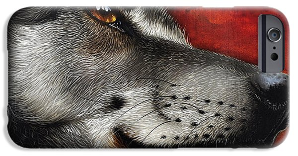 Animal Portraiture iPhone Cases - Orion Wolf iPhone Case by Jurek Zamoyski