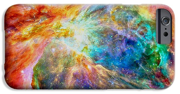 Jet Star iPhone Cases - Orions heart-where the stars are born iPhone Case by Eti Reid