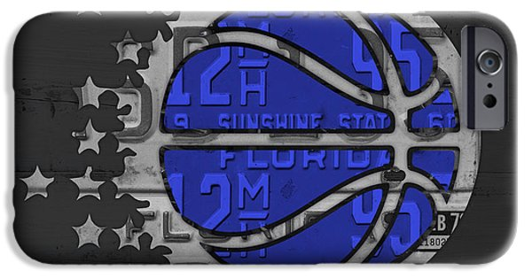 Basketball Team iPhone Cases - Orlando Magic Basketball Team Logo Vintage Recycled Florida License Plate Art iPhone Case by Design Turnpike