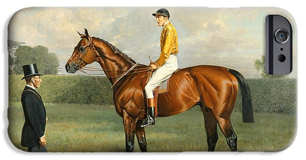 Race Horse Paintings iPhone Cases - Ormonde Winner of the 1886 Derby iPhone Case by Emil Adam
