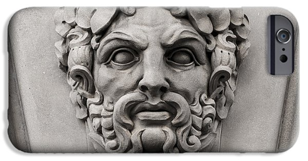 Stone Carving iPhone Cases - Ornamental Carved Stone Face - Washington DC iPhone Case by Gary Whitton
