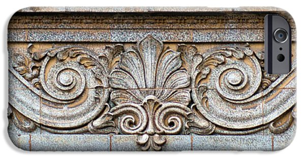 Nebraska iPhone Cases - Ornamental Scrollwork Panel - Architectural Detail iPhone Case by Nikolyn McDonald