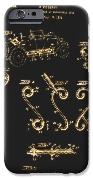 United iPhone Cases - Ornamentation For An Automobile Body Patent 1934 iPhone Case by Mountain Dreams
