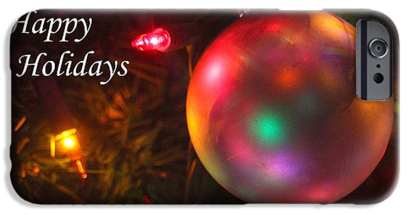 Business Photographs iPhone Cases - Ornaments-1942-HappyHolidays iPhone Case by Gary Gingrich Galleries