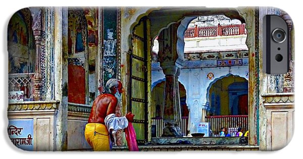 Women Together iPhone Cases - Ornate Colorful Temple Priest Rajasthan India iPhone Case by Sue Jacobi