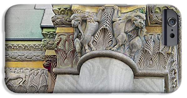 Building Reliefs iPhone Cases - Ornate Columns Giclee iPhone Case by CR Leyland