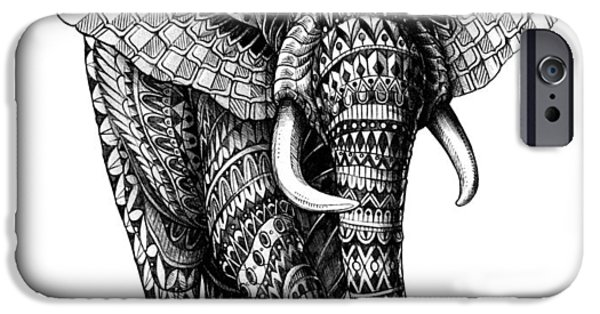 Native-american iPhone Cases - Ornate Elephant v.2 iPhone Case by BioWorkZ
