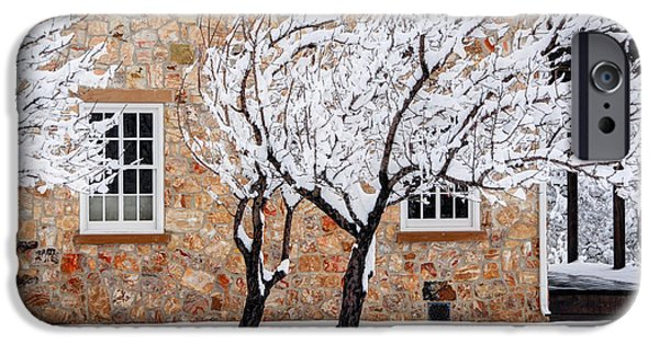 Pioneer Homes iPhone Cases - Ornate Historic Stone House in Winter iPhone Case by Gary Whitton