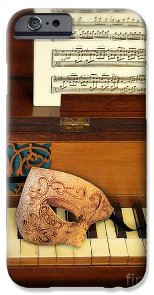 Old Sheet Music iPhone Cases - Ornate Mask on Piano Keys iPhone Case by Jill Battaglia