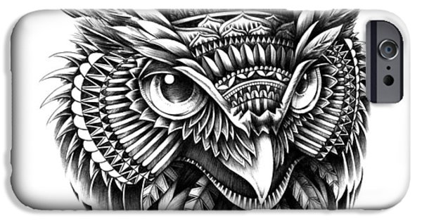 Tattoo Flash iPhone Cases - Ornate Owl Head iPhone Case by BioWorkZ