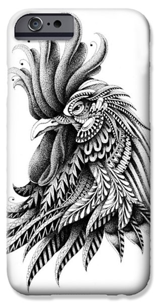 Crown iPhone Cases - Ornate Rooster iPhone Case by BioWorkZ