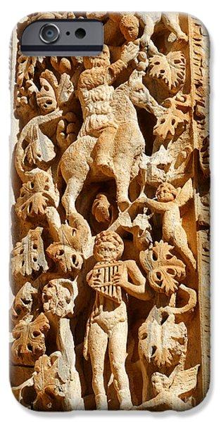 Leptis Magna iPhone Cases - Ornately sculpted pillar at Leptis Magna in Libya iPhone Case by Robert Preston