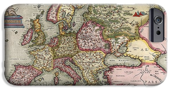 North Sea iPhone Cases - Orteliuss Map Of Europe, 1603 iPhone Case by Middle Temple Library
