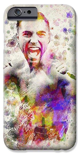 Athlete Digital Art iPhone Cases - Oscar De La Hoya iPhone Case by Aged Pixel