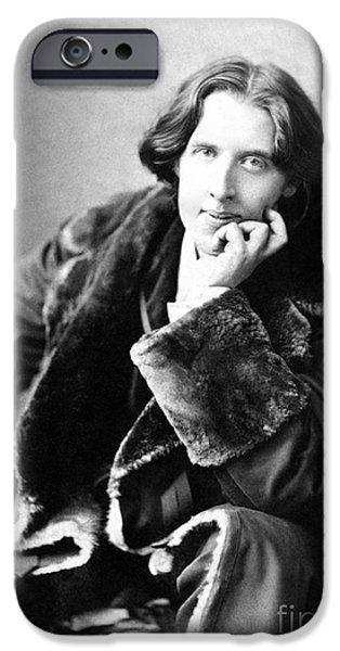 Figures iPhone Cases - Oscar Wilde in his favourite coat 1882 iPhone Case by Napoleon Sarony