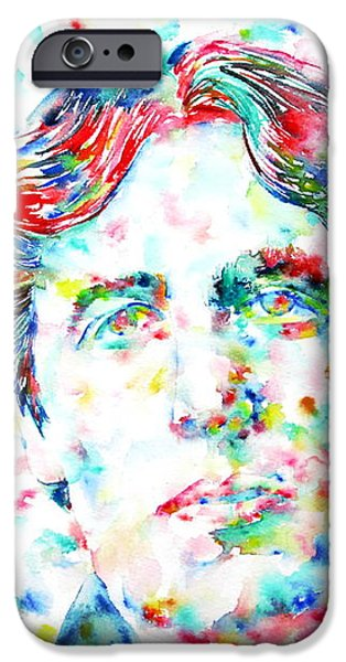 OSCAR WILDE with CIGAR - watercolor PORTRAIT iPhone Case by Fabrizio Cassetta