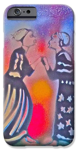 Liberation Paintings iPhone Cases - Oshun and Yemaya iPhone Case by Tony B Conscious