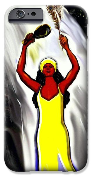 Spiritual Portrait Of Woman iPhone Cases - Oshun -Goddess of Love -4 iPhone Case by Carmen Cordova