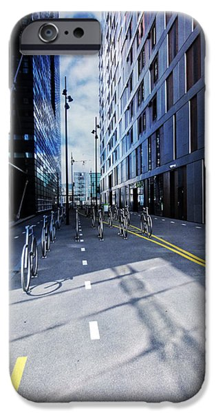 Oslo iPhone Cases - Oslo Architecture No. 3 -Bicycles iPhone Case by Mary Machare