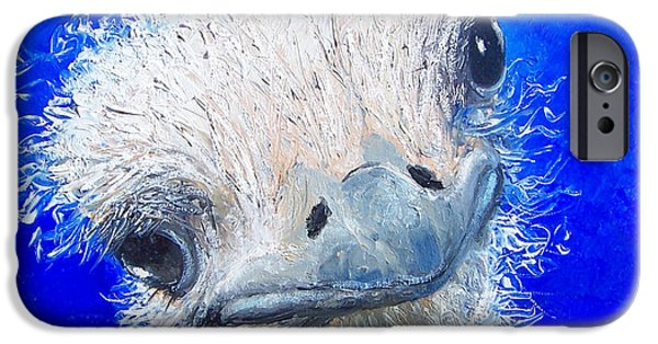 Emu iPhone Cases - Ostrich Painting Waldo by Jan Matson iPhone Case by Jan Matson