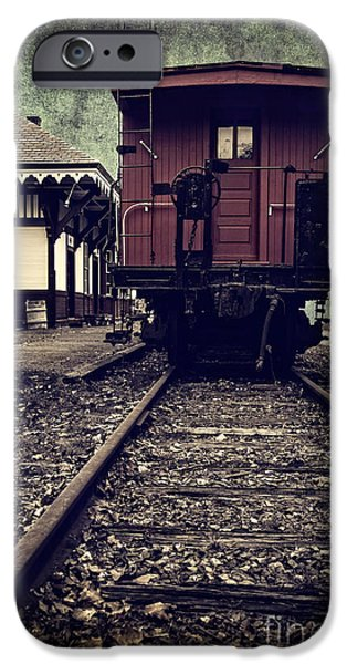 Caboose Photographs iPhone Cases - Other side of the tracks iPhone Case by Edward Fielding