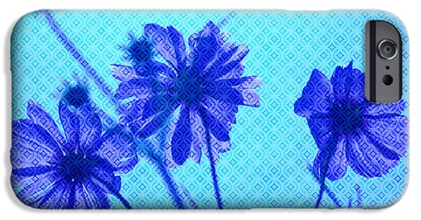 Eerie iPhone Cases - Otherworldly Cosmos Flowers in Aqua and Purple iPhone Case by Beverly Claire Kaiya