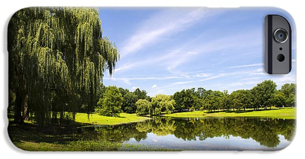 Willow Lake iPhone Cases - Otsiningo Park Reflection Landscape iPhone Case by Christina Rollo