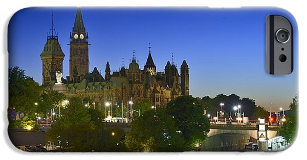 Night Lamp iPhone Cases - Ottawa Downtown Dusk iPhone Case by Tony Beck