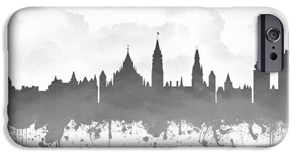 Ottawa iPhone Cases - Ottawa Ontario Skyline - Gray 03 iPhone Case by Aged Pixel