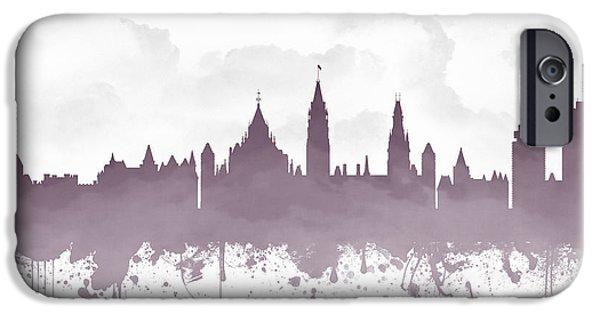 Ottawa iPhone Cases - Ottawa Ontario Skyline - Purple 03 iPhone Case by Aged Pixel