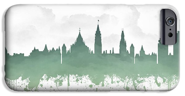 Ottawa iPhone Cases - Ottawa Ontario Skyline - Teal 03 iPhone Case by Aged Pixel