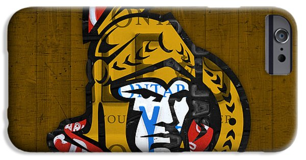 Ottawa iPhone Cases - Ottawa Senators Hockey Team Retro Logo Vintage Recycled Ontario Canada License Plate Art iPhone Case by Design Turnpike
