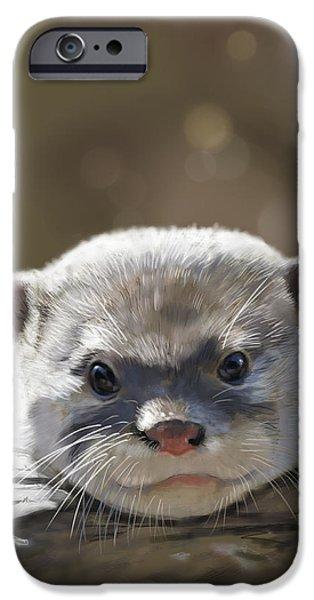 Otter Digital Art iPhone Cases - Otter iPhone Case by Arie Van der Wijst