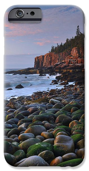 Maine Seacoast iPhone Cases - Otter Cliffs At Dawn iPhone Case by Stephen  Vecchiotti