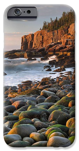 Rocky Maine Coast iPhone Cases - Otter Cliffs At Sunrise iPhone Case by Stephen  Vecchiotti