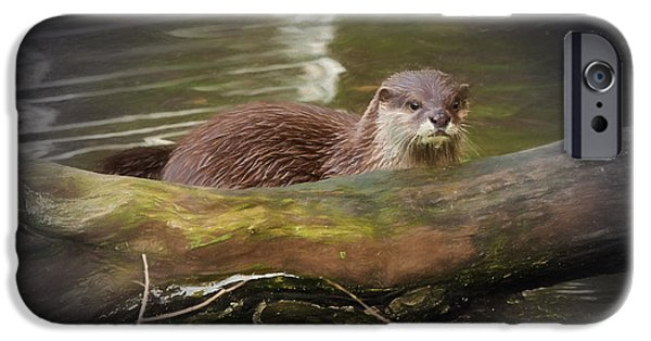 Otter Digital Art iPhone Cases - Otter iPhone Case by Ian Merton