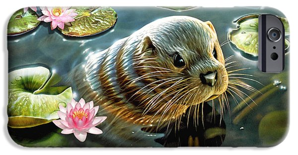 Otter Digital Art iPhone Cases - Otter in Water Lilies iPhone Case by Adrian Chesterman