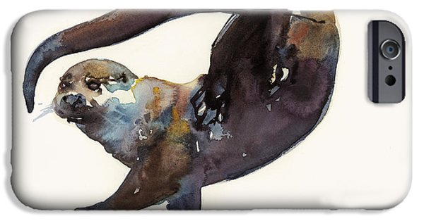 Creatures Paintings iPhone Cases - Otter Study II  iPhone Case by Mark Adlington
