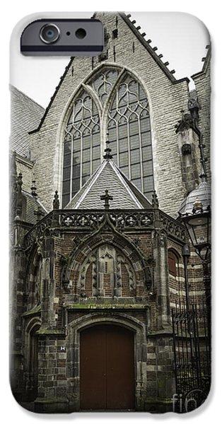 Weathervane Photographs iPhone Cases - Oude Kerk Door with Bikes Amsterdam iPhone Case by Teresa Mucha