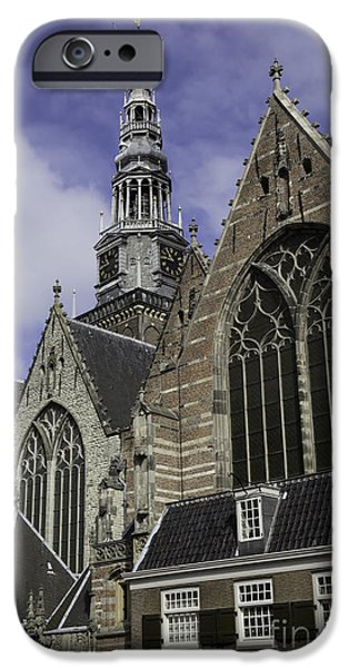 Weathervane Photographs iPhone Cases - Oude Kerk Rooflines and Tower Amsterdam iPhone Case by Teresa Mucha