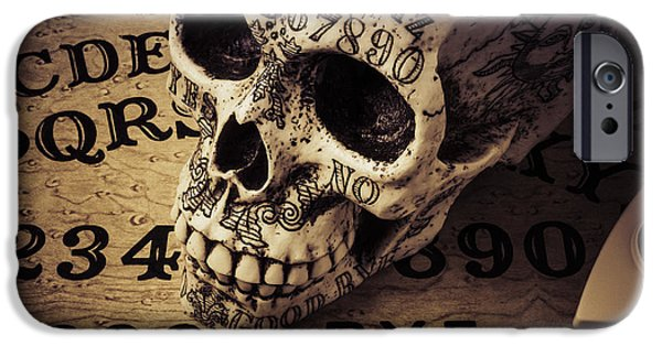 Supernatural iPhone Cases - Ouija Boards And Skull 2 iPhone Case by Garry Gay