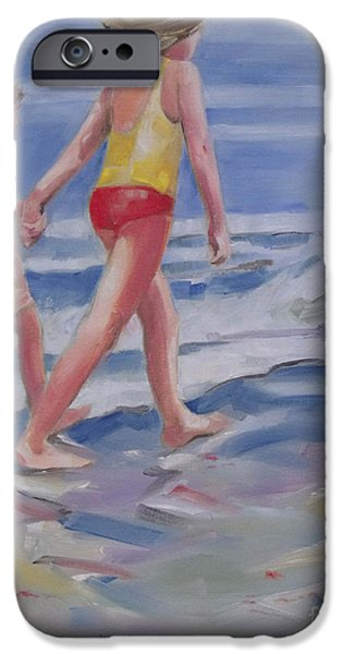 Beach iPhone Cases - Our Beach Walk iPhone Case by Mary Hubley