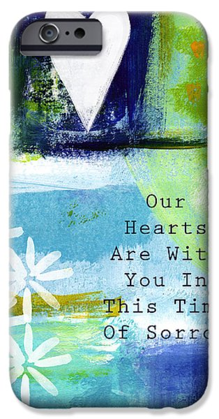 Sympathy iPhone Cases - Our Hearts Are With you- sympathy card iPhone Case by Linda Woods