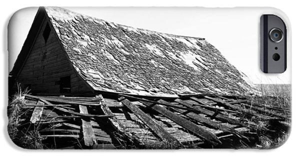 Old Barn iPhone Cases - Our Home Collapses  iPhone Case by Jerry Cordeiro